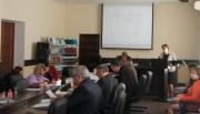 Выступает декан факультета истории и права, профессор Е.Ю. Болотова