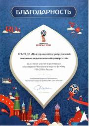 Оргкомитет по подготовке и проведению Чемпионата Мира по футболу FIFA 2018™ в России отметил вклад ВГСПУ