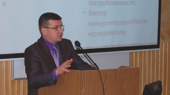 Выступает проректор ВГСПУ по научной работе проф. А.М. Коротков